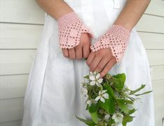 Gothic GlovesVictorian Gloves Lace Gloves Blush by SmilingKnitting,