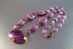 Vintage Czech Art Deco Purple Glass Necklace by LynnHislopJewels
