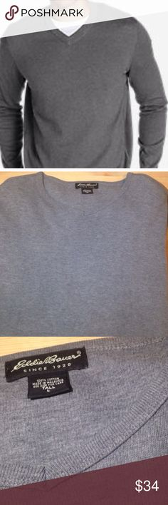 Men's Naturally Soft Eddie Bauer Sweater Men's Naturally Soft Eddie Bauer Sweater. V-Neck neckline, long sleeves, and comfortable fit. This sweater is a neutral gray that goes with anything. 100% cotton Size Availability: Large and Large Tall Eddie Bauer Sweaters