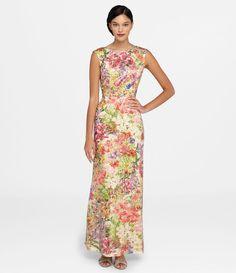 Tahari ASL Floral Sequin Gown