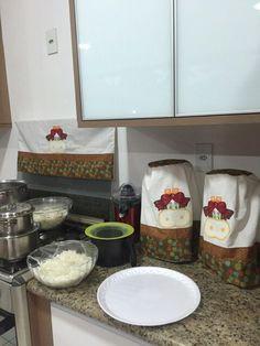 Jogo  de cozinha de patchwork vaquinha