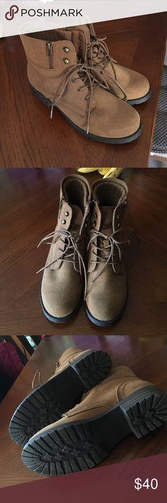 NWOT brown combat boots Mix No 6 brown faux suede combat boots. Brand new unworn. Mix No. 6 Shoes Combat & Moto Boots