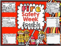 Fire Safety: Adorable FREE Fire Safety coloring pages with writing prompts.