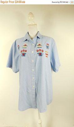 7eb37f5f SHOP SALE Vintage Mystic Blues Embroidered Flower Pot Print Denim Jean Button  Down Collared Short Sleeve Shirt Top 20W Plus Size