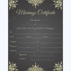 Marriage Certificate - Get high quality, professionally designed template. Templates are available in Word & PDF Formats. Certificate Layout, Wedding Certificate, Marriage Certificate, Certificate Templates, Wedding Invitation Keepsake, Wedding Reception Invitation Wording, Wedding Stationary, Marriage Records, Marriage License