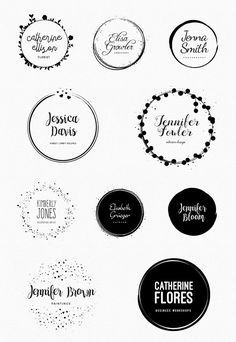Some examples of the 50 premade logo templates.