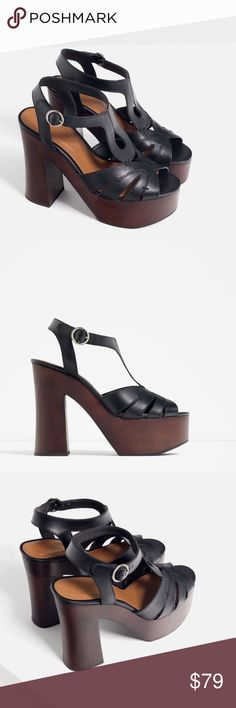 "SALE! ZARA 100% Leather Platform Sandals BRAND NEW Brand new with tags, never worn. 100% COW LEATHER. If you are needing a particular size then pls let me know. Wooden platform, 4.9"" heel height. Zara Eur 37 / US 6.5 and Eur 39/US 8. Zara Shoes Platforms"