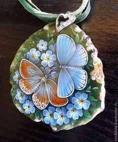 "Кулон ""Незабудки""- живопись на камне - зелёный,агат,незабудки,бабочка"