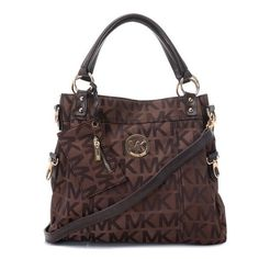 Michael Kors Classic Monogram?Removable Strap Large Brown Totes Outlet