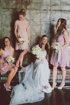 pink bridesmaids' dresses // photo by Our Labor of Love by Heidi http://ruffledblog.com/atlanta-arts-center-wedding #bridesmaids #wedding #pink