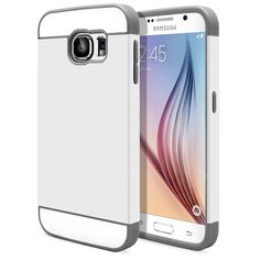 Galaxy S6 Cute Ultra Slim Protective [Hybrid Impact] Case Hard Durable Thin TPU Cover for Samsung Galaxy S6 Case Armor Shell [White -Gray] with Clear Screen Protector   MagicMobile