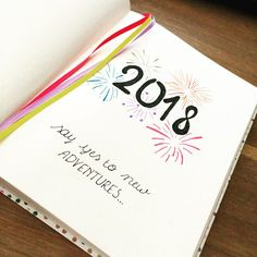 Bullet journal yearly cover page, fireworks drawing. | @_bujoinspo_