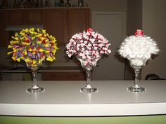 Candy Bouquets in margarita glasses (could this be done in large wine/champagne glasses?)