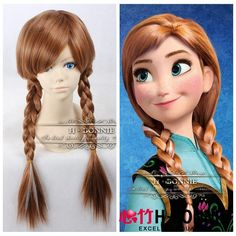 Synthetic Wig Animation Wig Brown Mixed White Frozen Anna Wig #Cosplay Wigs http://darlenehair.com/