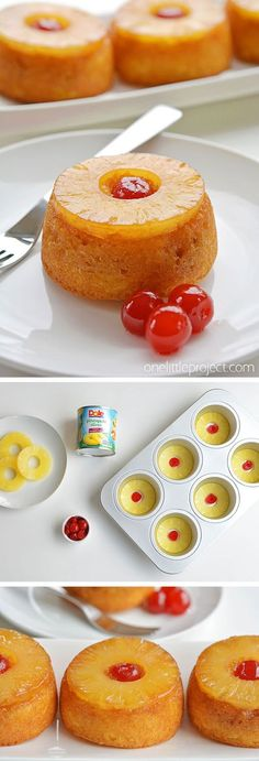 These Mini Pineapple Upside Down Cakes Are So Pretty And ; diese mini ananas upside down cakes sind so schön und These Mini Pineapple Upside Down Cakes Are So Pretty And ; Mini Desserts, Delicious Desserts, Easy Desserts To Make, Simple Dessert Recipes, Egg Desserts, Easy Desert Recipes, Greek Desserts, Mexican Desserts, Cold Desserts
