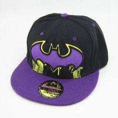 New Batman hiphop Snapback Adjustable Black Purple baseball cap hat flat Gift