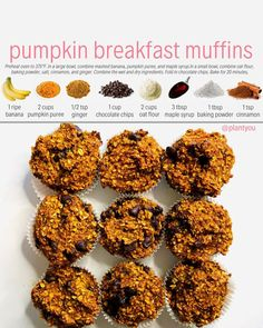These pumpkin breakfast muffins are delicious! They are made with whole food plant based ingredients and are oil free too! They would make a perfect breakfast option for thanksgiving or a healthy dessert! Pumpkin Breakfast, Plant Based Breakfast, Breakfast Muffins, Eat Breakfast, Pumpkin Dessert, Perfect Breakfast, Whole Food Diet, Whole Food Recipes, Vegan Recipes