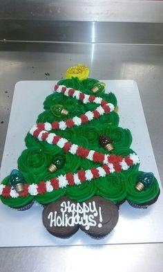 Cool Christmas Tree Cupcake Cake intended for 24 Count Christmas Tree Cupcake Pull Apart Christmas Tree Cupcake Cake, Christmas Cupcakes Decoration, Christmas Sweets, Christmas Goodies, Christmas Cakes, Holiday Cakes, Holiday Desserts, Holiday Baking, Christmas Baking