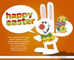 "This cool background shows a bunny with vest and tie holding an Easter egg in one hand and saying ""Happy Easter"" with a dialogue cloud. It has an orange backdrop and space for you to enter a message for your promos, cards with wishes, and more. High quality JPG included. Under Commons 4.0. Attribution License."