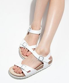 womans white birkenstock clogs