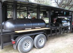 The best custom BBQ trailers and smokers built in Texas Custom Bbq Smokers, Custom Bbq Pits, Bbq Smoker Trailer, Bbq Pit Smoker, Backyard Smokers, Outdoor Bbq Kitchen, Hawaiian Bbq, Up In Smoke, Trailers