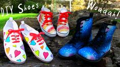 DIY Shoes from my DIY Clothes series! In this DIY tutorial I show 3 awesome DIY Shoes Projects. We are renovating plain white sneakers into heart explosion sneakers, plain high top sneakers into snake skin ones and plain black boots into magical galaxy boots. I also show several shoelace designs!