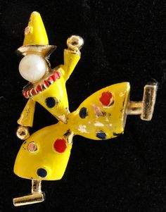 Vintage Enamel Clown Brooch