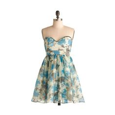 Flowers in the Fountain Dress (715 ARS) ❤ liked on Polyvore featuring dresses, vestidos, blue, modcloth, printed dresses, strapless dress, lace slip dress, lace dress, flower print dress and sexy lace dresses