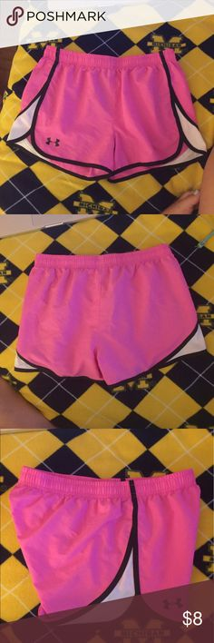 Youth XL Running Shorts These are really breathable but unlined, really cute to wear running. I wear an adult XS and they fit. No stains or anything! Like new Under Armour Bottoms Shorts
