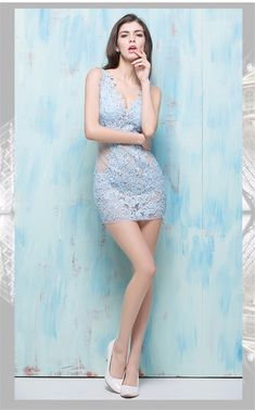 f7ad287c628c Sexy V Neck Sheer See Through Mini Light Sky Blue Lace Night Out Club Party  Dress