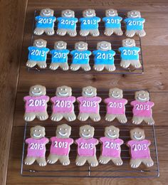 Class of 2013 graduation teddy bears for pre- school leavers. Organic, hand iced, vanilla biscuits