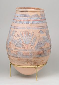 Blue-painted Jar from Malqata Period: New Kingdom Dynasty: Dynasty 18 Reign: reign of Amenhotep III Date: ca. 1390–1353 B.C. Geography: From Egypt, Upper Egypt; Thebes, Malqata, Palace of Amenhotep III, MMA excavations, 1910–11 Medium: pottery, slip, paint
