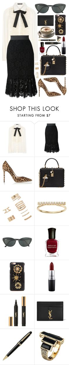 """Untitled #659"" by clary94 ❤ liked on Polyvore featuring Dolce&Gabbana, Gianvito Rossi, Forever 21, LC Lauren Conrad, Ray-Ban, Deborah Lippmann, MAC Cosmetics, Yves Saint Laurent, Montblanc and House of Harlow 1960"