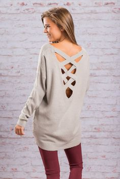 Trendy Criss Cross Back Sweater - Gray - The Mint Julep Boutique