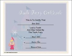 This printable certificate is to be left by the tooth fairy upon the occasion of a child losing a tooth. Illustrated with a pink tooth fairy and her wand. Free to download and print