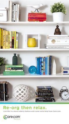 1 color of books per shelf, with different colored accent objects