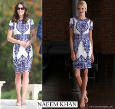 Kate Middleton chose a dress by Indian-American designer Naeem Khan for the Taj Mahal visit. www.newmyroyals.com