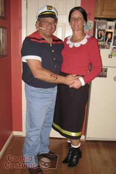 """Popeye & Olive Oyl, Cartoon Character: He dresses as a sailor and wears a tan long-sleeved shirt underneath his uniform, with """"muscles"""" stuffed underneath and tattoes drawn on (and don't forget the pipe and can of spinach). She wears baggy red top with ruffled white collar and cuffs, long black skirt with a horizontal stripe around the bottom, and heavy boots."""