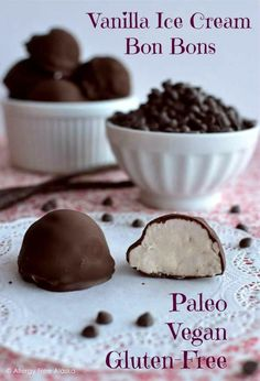 Chocolate Covered Vanilla Ice Cream Bon Bons!   Paleo, vegan, gluten free, nut free & low sugar