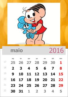 Calendário da Turma da Mônica 2016 - Mês de maio
