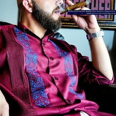 The Merlot Red Guayabera Shirt with Royal Blue Stars is almost sold out. Order the most elegant guayabera shirt made for modern men.                   ✌ Say Hola to YABERA ✌  modern art + iconic guayabera shirt = Y.A.Bera Clothing  View the collection at www.yaberaclothing.com