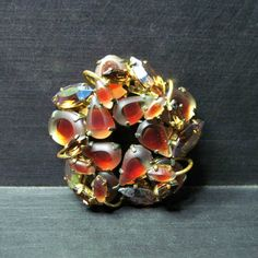 Vintage Rhinestone Brooch 1960s Jewelry by WickedDarling.etsy.com #VintageJewelry