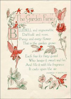 Vintage 1930's Story Book Illustration, Print, The Garden Fairies, Fairies and Verse