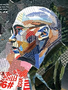 text collage portrait- what makes this one really work well? Crisp edges and distinct value changes using color theory. Collages, Collage Artists, Art And Illustration, Derek Gores, Collage Portrait, Portraits, Newspaper Art, Magazine Collage, Photomontage