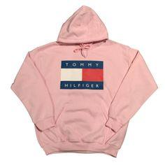 Pink Tommy Hilfiger Logo Hoodie Sweatshirt Vintage 90s Fashion Streetwear