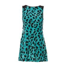 French Connection mini dress in turquoise animal print. Playful and can be dressed up or down. Love it!
