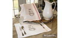 Create Your Own Graphic Vintage Tea Towels. Also a link is included with free printable images.