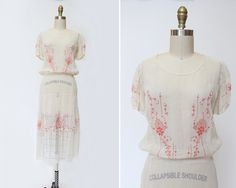 1920s Embroidered Lawn Party Dress  S  Antique by SadieLouVintage