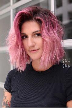 Dip Dye Hair Brunette, Pink Blonde Hair, Pink Hair Dye, Pastel Pink Hair, Blonde Pink Balayage, Pink Hair Tips, Baby Pink Hair, Vivid Hair Color, Cute Hair Colors