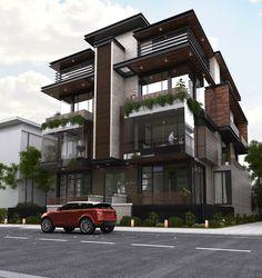 Twin villa on Behance Architecture Building Design, Home Building Design, Facade Design, Residential Architecture, 3 Storey House Design, Duplex House Design, House Front Design, Townhouse Exterior, Building Elevation